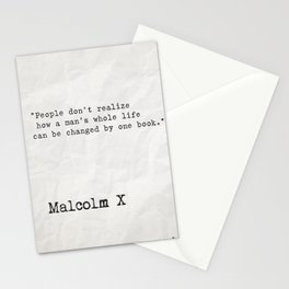 Malcolm X quote about books Stationery Cards