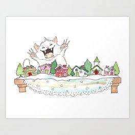 Fluffapurrus Attacks the Snow Village! Art Print