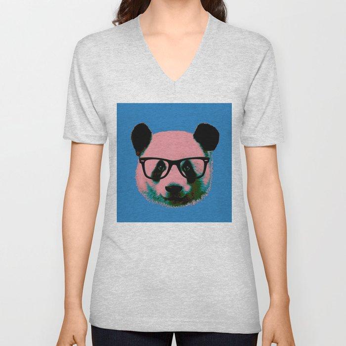 Panda with Nerd Glasses in Blue Unisex V-Neck