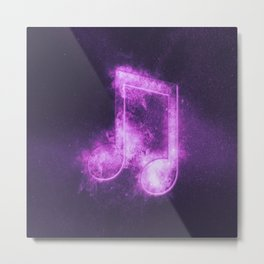 Beamed Eight music note symbol. Abstract night sky background Metal Print
