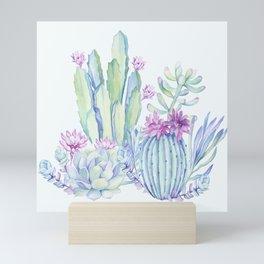 Mixed Cacti Light Blue #society6 #buyart Mini Art Print