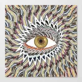 Origami Chakra Eye - Golden Hazel Canvas Print