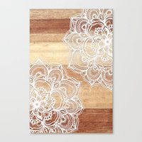 micklyn Canvas Prints featuring White doodles on blonde wood - neutral / nude colors by micklyn