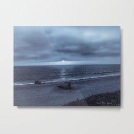 Texas Beach -  Blue Metal Print