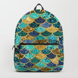 Glitter Blues, Greens, and Gold Mermaid Scales Pattern Backpack