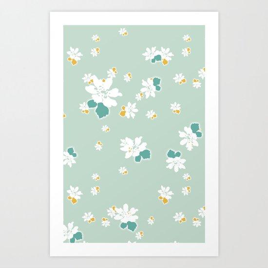 Ditsy - Eggshell Art Print
