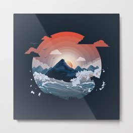 Sunset over the mountain Metal Print
