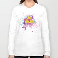 triforce Long Sleeve T-shirts featuring Splash Triforce by Brittany