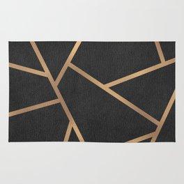 Dark Grey and Gold Textured Fragments - Geometric Design Rug