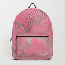 Pretty Pink Palm Petal Print Backpack
