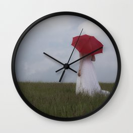 Red and White I Wall Clock