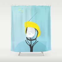 the life aquatic Shower Curtains featuring Zissou - The Life Aquatic by The Chutney Factory