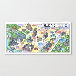 MADRID CITY by Javier Arrés. Madrid Map Illustration. Canvas Print