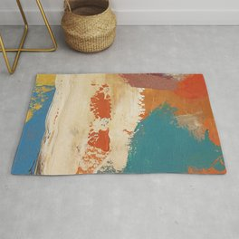 Rustic Orange Teal Abstract Rug