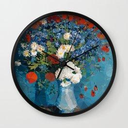 Van Gogh Poppies Cornflowers Blue Vase Low Poly Wall Clock