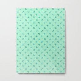 Teal Green on Magic Mint Green Snowflakes Metal Print
