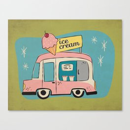 Ice Cream Truck on Avocado Green - Kitschy Kitchen Decor Canvas Print