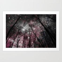 Black Tress Pink & Gray Space Art Print