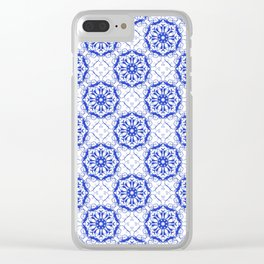Baroque style floral blue pattern. Clear iPhone Case
