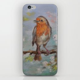 Red Robin Small bird on a blooming twig Wildlife spring scene Pastel drawing iPhone Skin