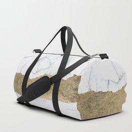 Elegant faux gold foil gray white modern marble Duffle Bag