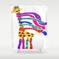 murakami Shower Curtains featuring Happy Christmas Giraffe  by Marcy Murakami
