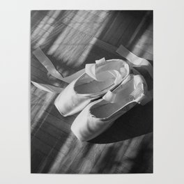 Ballet dance shoes. Black and White version. Poster