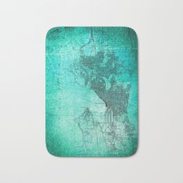 Turquoise Seattle Map Design Bath Mat