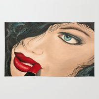 lip Area & Throw Rugs featuring Lip Stick by Stews-Art