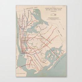 New York City Transit System Vintage Canvas Print