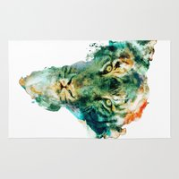 wildlife Area & Throw Rugs featuring African Wildlife by RIZA PEKER