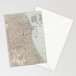 Vintage Map of Chicago (1893) Stationery Cards