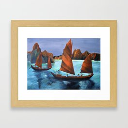 Junks In the Descending Dragon Bay Framed Art Print