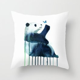 panda and butterfly Throw Pillow