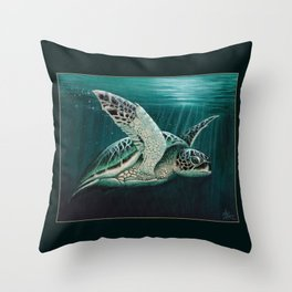 """""""Moonlit"""" by Amber Marine - Sea Turtle, Acrylic Painting, (Copyright 2015) Throw Pillow"""