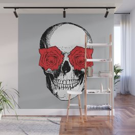 Skull and Roses | Grey and Red Wall Mural