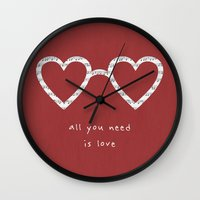 all you need is love Wall Clocks featuring All you need is love by withnopants