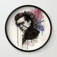 harry styles Wall Clocks featuring Harry Styles by bellavigg