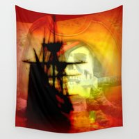 pirate ship Wall Tapestries featuring Pirate Ship by elkart51