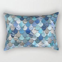 Mermaid Pattern Ocean Blue Rectangular Pillow