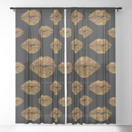 Gold Sparkle Kissing Lips Sheer Curtain