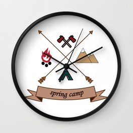 Camping Spring Camp adventure design Wall Clock