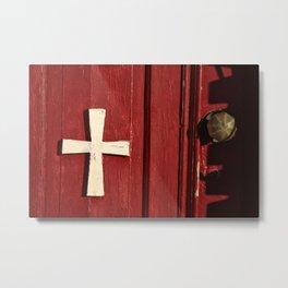 cross on a red door Metal Print