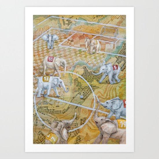Elephant Football Art Print