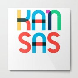 Kansas State Mid Century, Pop Art Mondrian Metal Print