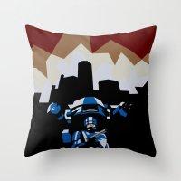 robocop Throw Pillows featuring RoboCop by iankingart