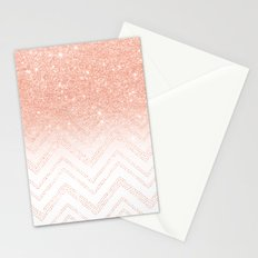 Faux salmon gold glitter ombre modern chevron pattern Stationery Cards