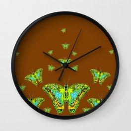 GREEN-YELLOW MOTHS ON COFFEE BROWN Wall Clock