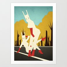 roadside bunnies Art Print