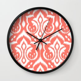 Ikat Damask Coral Wall Clock
